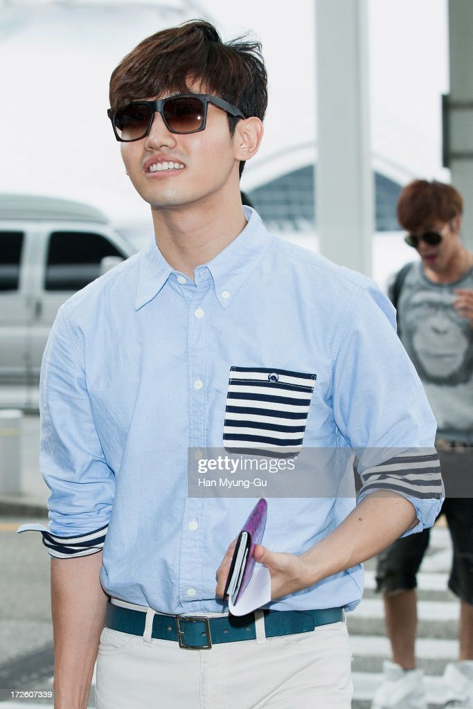 Max of South Korean boy band TVXQ is seen on departure at Incheon International Airport on July 4 2013 in Incheon South Korea