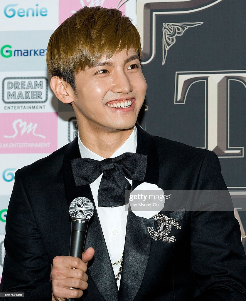 Max of South Korean boy band TVXQ speaks during a press conference before their World Tour concert 'Catch Me' at the Olympic Gymnasium on November 18, 2012 in Seoul, South Korea.