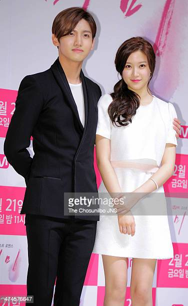Max of TVXQ and Moon GaYoung attend the Mnet drama 'Mimi' press conference at Patio9 on February 18 2014 in Seoul South Korea