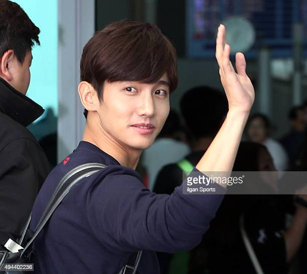 Max of TVXQ is seen at Incheon International Airport on October 15 2015 in Incheon South Korea