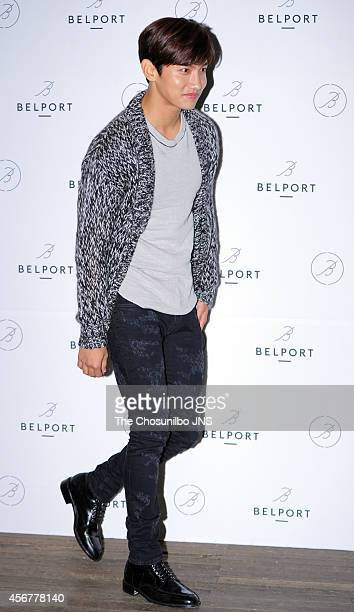 Max of TVXQ poses for photographs during the BELPORT launching event at Garosugil on September 30 2014 in Seoul South Korea