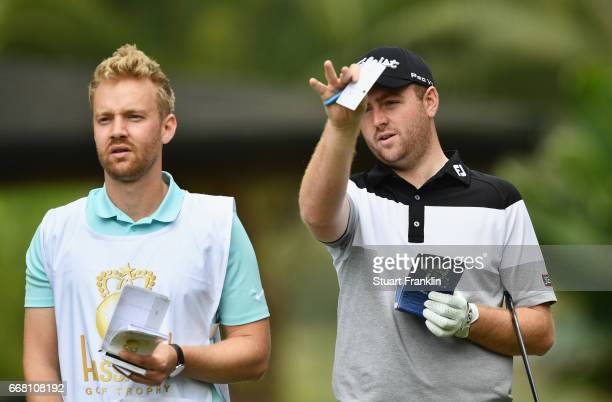 Max Orrin of England and his caddie in discussion during the first round on day one of the Trophee Hassan II at Royal Golf Dar Es Salam on April 13...