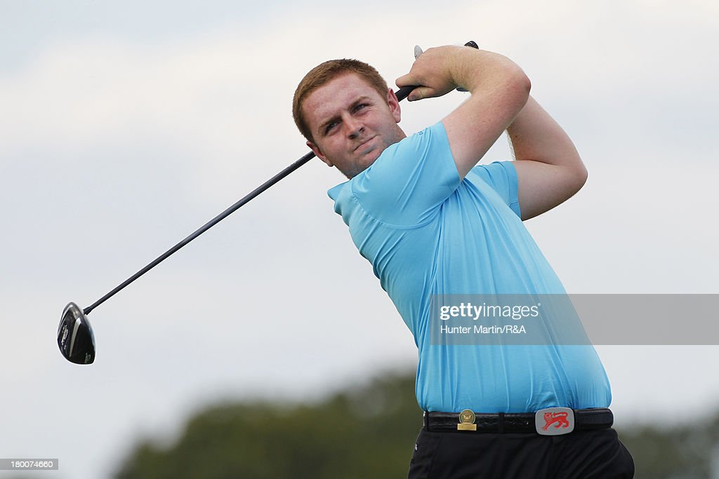 Max Orrin of England and the Great Britain and Ireland Team hits his tee shot on the fifth hole on Day Two of the afternoon singles matches of the 2013 Walker Cup at National Golf Links of America on September 8, 2013 in Southampton, New York.