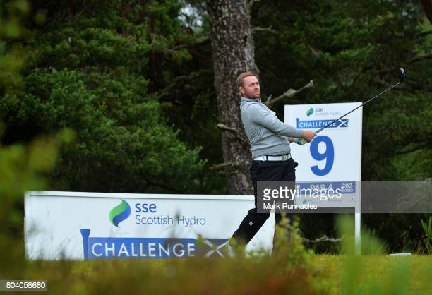 Max Orrin of England plays his tee shot to the 9th hole during the second day of the 2017 SSE Scottish Hydro Challenge hosted by MacDonald Hotels and...