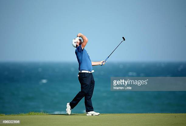 Max Orrin of England reacts to a missed putt on the 13th green during the third round of the NBO Golf Classic Grand Final at the Almouj Golf Club The...