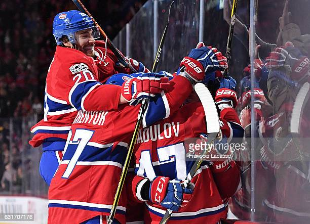 Max Pacioretty and Alexander Radulov of the Montreal Canadiens celebrate after scoring a goal against the New York Rangers in the NHL game at the...