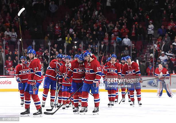 Max Pacioretty and PK Subban of the Montreal Canadiens celebrate after defeating Philadelphia Flyers in the NHL game at the Bell Centre on February...
