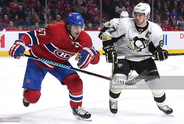 Max Pacioretty of the Montreal Canadiens and Sidney Crosby of the Pittsburgh Penguins skates for position in the NHL game at the Bell Centre on...