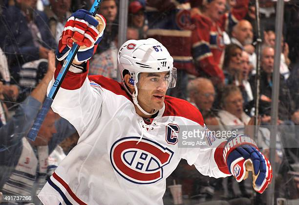 Max Pacioretty of the Montreal Canadiens celebrates a first period goal during NHL game action against the Toronto Maple Leafs October 7 2015 at Air...