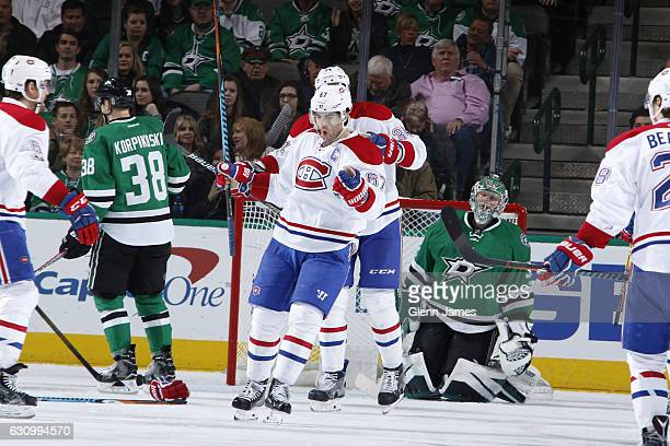 Max Pacioretty of the Montreal Canadiens celebrates a goal against the Dallas Stars at the American Airlines Center on January 4 2017 in Dallas Texas