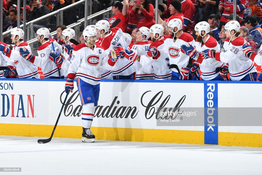 Max Pacioretty #67 of the Montreal Canadiens celebrates after a goal during the game against the Edmonton Oilers on March 12, 2017 at Rogers Place in Edmonton, Alberta, Canada.