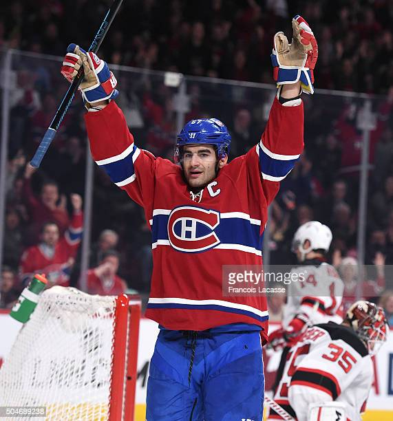 Max Pacioretty of the Montreal Canadiens celebrates after scoring a goal against the New Jersey Devils in the NHL game at the Bell Centre on January...