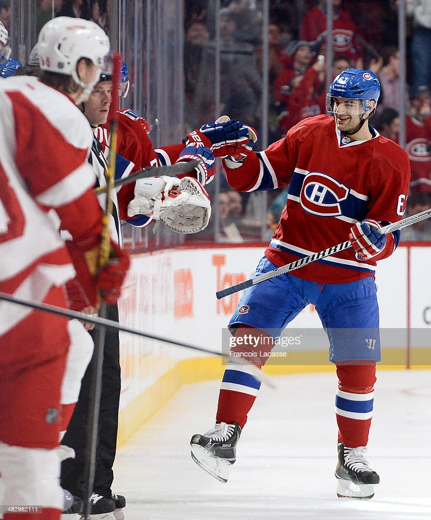 <a gi-track='captionPersonalityLinkClicked' href=/galleries/search?phrase=Max+Pacioretty&family=editorial&specificpeople=4324972 ng-click='$event.stopPropagation()'>Max Pacioretty</a> #67 of the Montreal Canadiens celebrates after scoring the second goal against the Detroit Red Wings during the NHL game on April 5, 2014 at the Bell Centre in Montreal, Quebec, Canada.