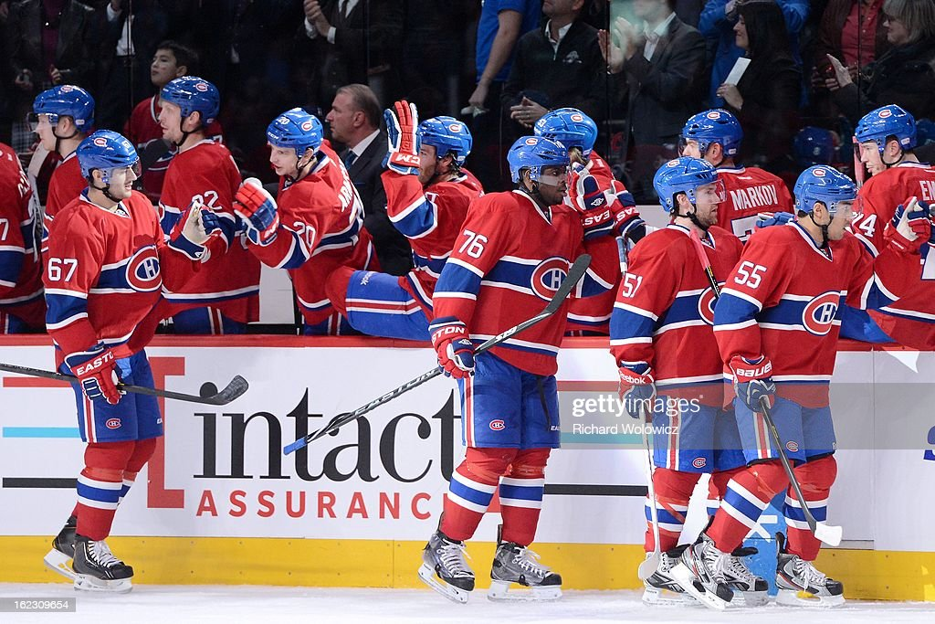 Max Pacioretty #67 of the Montreal Canadiens celebrates his first period goal with teammates during the NHL game against the New York Islanders at the Bell Centre on February 21, 2013 in Montreal, Quebec, Canada.