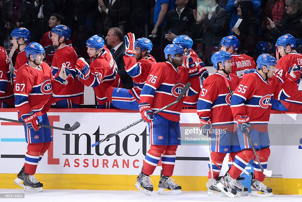 Max Pacioretty #67 of the Montreal Canadiens celebrates his first-period goal with teammates during the NHL game against the New York Islanders at the Bell Centre on February 21, 2013 in Montreal, Quebec, Canada.