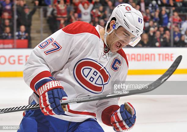 Max Pacioretty of the Montreal Canadiens celebrates his shootout goal during NHL game action against the Toronto Maple Leafs January 23 2016 at Air...