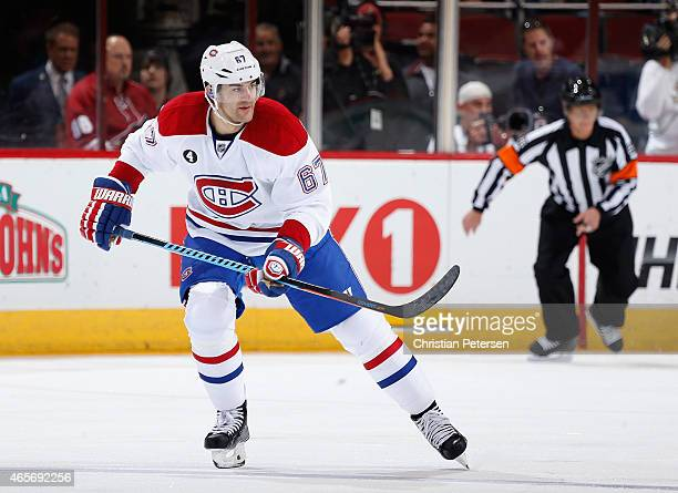 Max Pacioretty of the Montreal Canadiens during the NHL game against the Arizona Coyotes at Gila River Arena on March 7 2015 in Glendale Arizona The...