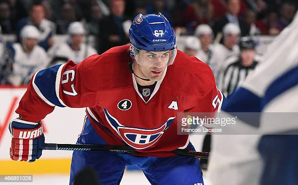 Max Pacioretty of the Montreal Canadiens during the NHL game against the Tampa Bay Lightning at the Bell Centre on March 10 2015 in Montreal Quebec...