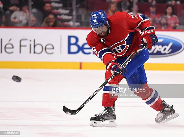 Max Pacioretty of the Montreal Canadiens fires a slap shot against the Philadelphia Flyers in the NHL game at the Bell Centre on February 10 2015 in...