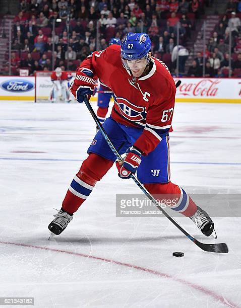 Max Pacioretty of the Montreal Canadiens fires a slap shot against the Vancouver Canucks in the NHL game at the Bell Centre on November 2 2016 in...