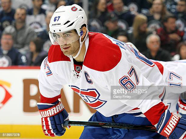 Max Pacioretty of the Montreal Canadiens gets set for a first period faceoff against the Winnipeg Jets at the MTS Centre on March 5 2016 in Winnipeg...