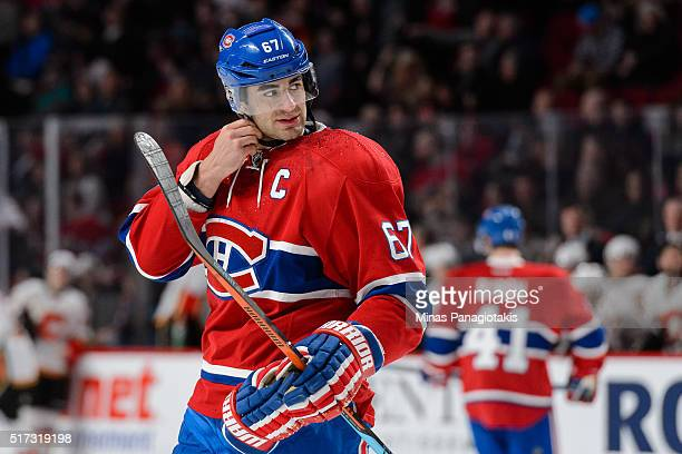 Max Pacioretty of the Montreal Canadiens looks on as he straps his helmet during the NHL game against the Calgary Flames at the Bell Centre on March...