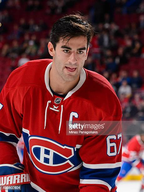 Max Pacioretty of the Montreal Canadiens looks on during the warmup period prior to the NHL game against the St Louis Blues at the Bell Centre on...