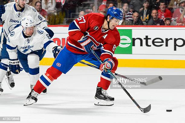 Max Pacioretty of the Montreal Canadiens moves the puck in Game One of the Eastern Conference Semifinals against the Tampa Bay Lightning during the...