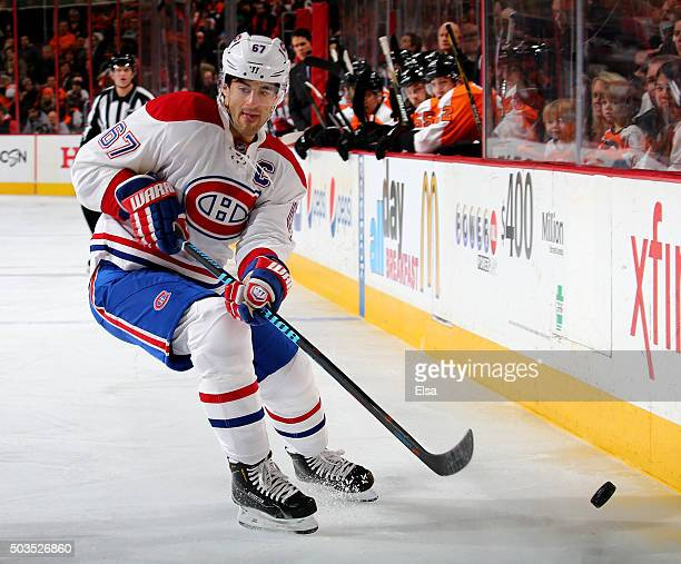 Max Pacioretty of the Montreal Canadiens passes the puck in the second period against the Philadelphia Flyers at the Wells Fargo Center on January 5...