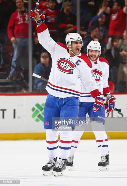 Max Pacioretty of the Montreal Canadiens reacts after scoring a goal against the New Jersey Devils during the game at Prudential Center on February...