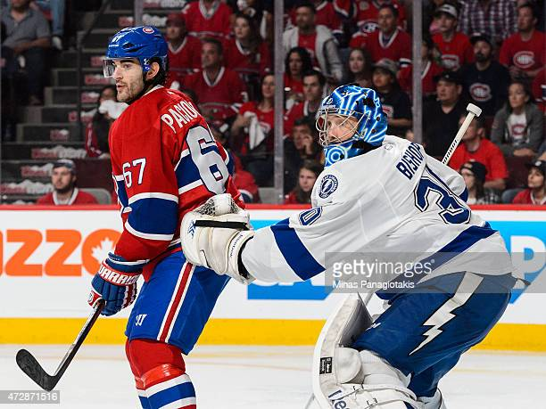 Max Pacioretty of the Montreal Canadiens screens Ben Bishop of the Tampa Bay Lightning in Game Five of the Eastern Conference Semifinals during the...