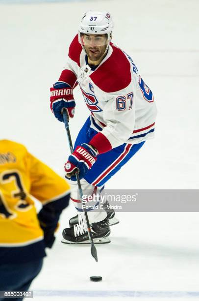 Max Pacioretty of the Montreal Canadiens skates against the Nashville Predators during an NHL game at Bridgestone Arena on November 22 2017 in...