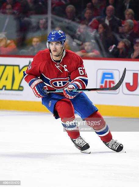 Max Pacioretty of the Montreal Canadiens skates against the New York Islanders in the NHL game at the Bell Centre on November 5 2015 in Montreal...