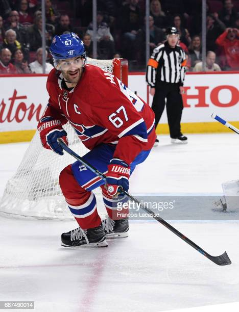 Max Pacioretty of the Montreal Canadiens skates against the Tampa Bay Lightning in the NHL game at the Bell Centre on April 7 2017 in Montreal Quebec...