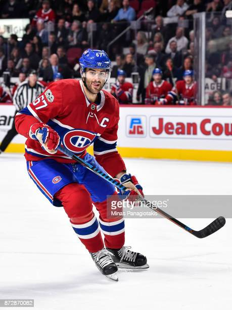 Max Pacioretty of the Montreal Canadiens skates against the Vegas Golden Knights during the NHL game at the Bell Centre on November 7 2017 in...