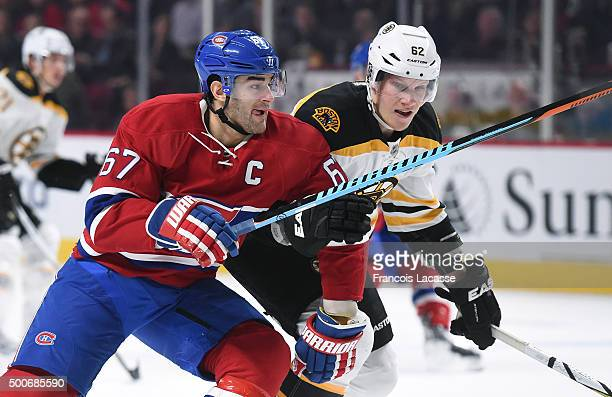 Max Pacioretty of the Montreal Canadiens skates against Zach Trotman of the Boston Bruins in the NHL game at the Bell Centre on December 9 2015 in...