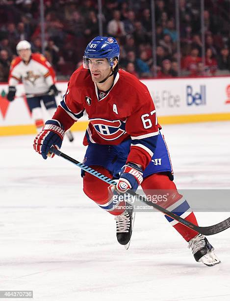 Max Pacioretty of the Montreal Canadiens skates for the puck against the Florida Panthers in the NHL game at the Bell Centre on February 19 2015 in...