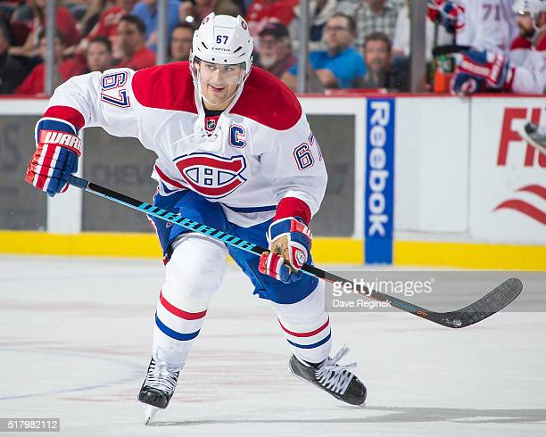 Max Pacioretty of the Montreal Canadiens skates up ice against the Detroit Red Wings during an NHL game at Joe Louis Arena on March 24 2016 in...