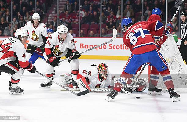 Max Pacioretty of the Montreal Canadiens takes a shot on Craig Anderson the Ottawa Senators in the NHL game at the Bell Centre on November 3 2015 in...
