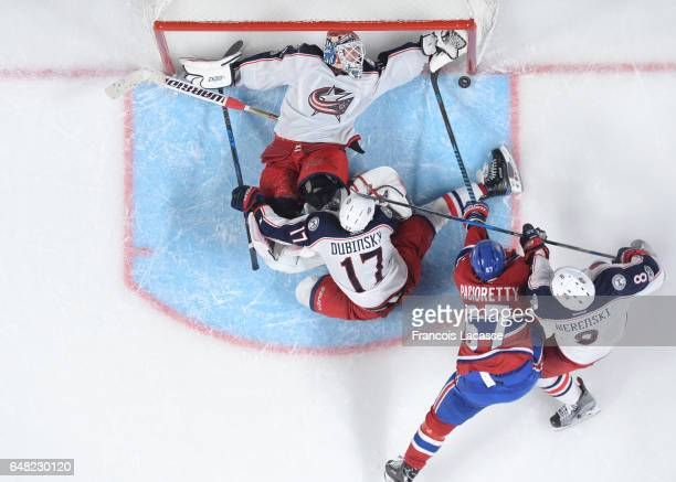 Max Pacioretty of the Montreal Canadiens takes a shot on goal Sergei Bobrovsky of the Columbus Blue Jackets in the NHL game at the Bell Centre on...
