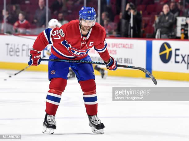 Max Pacioretty of the Montreal Canadiens takes his position during the warmup prior to the NHL game against the Vegas Golden Knights at the Bell...