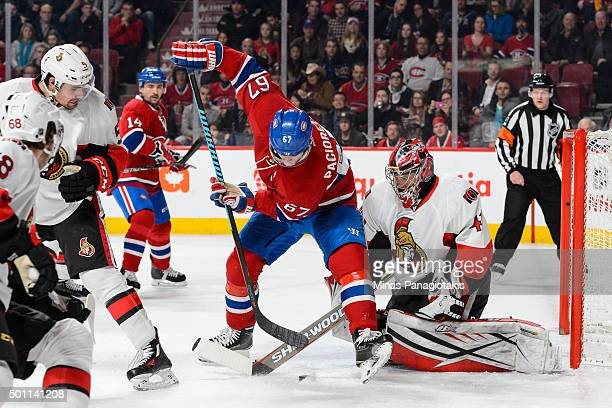 Max Pacioretty of the Montreal Canadiens tries to get a shot on goaltender Craig Anderson of the Ottawa Senators during the NHL game at the Bell...