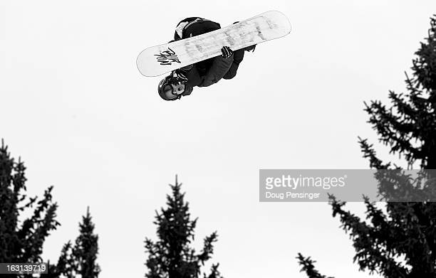 Max Parrot of Canada soars through the air en route to second place in the Men's Snowboard Slopestyle during Winter X Games Aspen 2013 at Buttermilk...