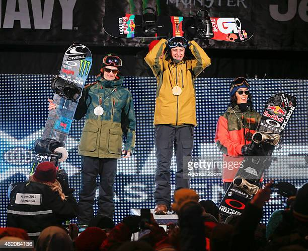 Max Parrot of Canada takes 2nd place Mark McMorris of Canada takes 1st place Yuki Kadono of Japan takes 3rd place during the Winter X Games America's...