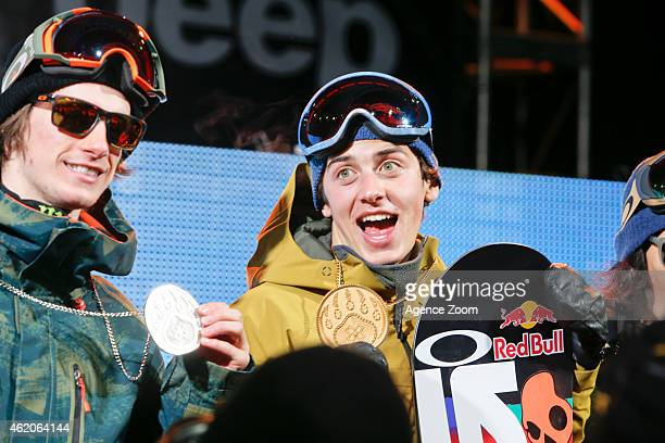 Max Parrot of Canada takes 2nd place Mark McMorris of Canada takes 1st place during the Winter X Games America's Navy Snowboard Big Air on January 23...