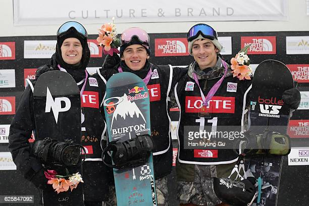 Max Parrot of Canada takes 2nd place Mark McMorris of Canada takes 1st place Ryan Stassel of USA takes 3rd place during Mens BA Finals the FIS...