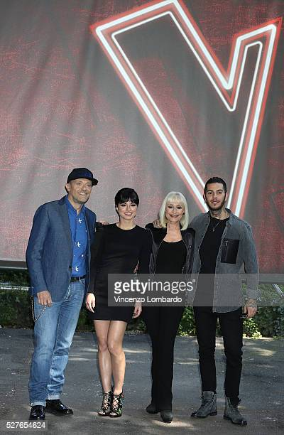 Max Pezzali Dolcenera Raffaella Carra Emis Killa attend a photocall for 'The Voice Of Italy' on May 3 2016 in Milan Italy