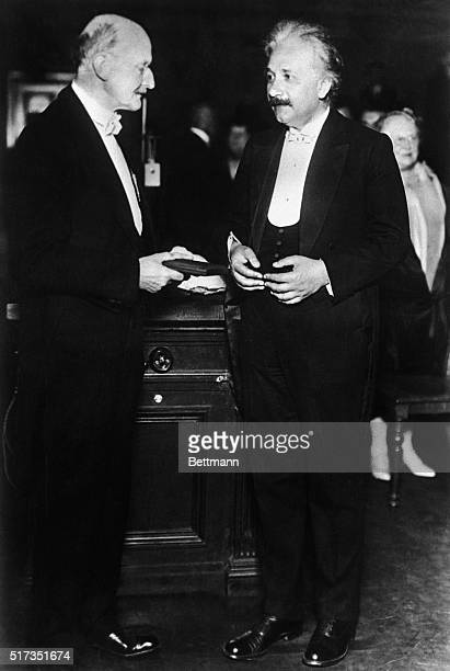 Max Planck and Albert Einstein at the World Power Conference in Berlin where Einstein presented his theory of the reality of space