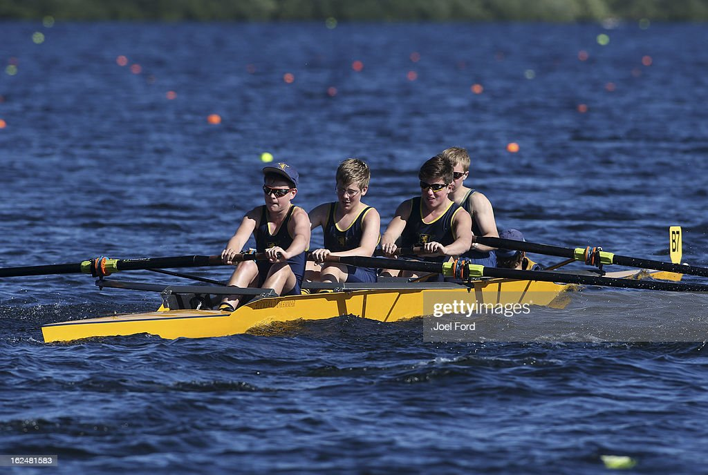 Max Poole, Nick Chrisp, James Grant, Harry Eisenhut and cox Funn Humberson Hurley of Auckland Grammer compete in the boys under-16 coxed four final during the New Zealand Junior Rowing Regatta on February 24, 2013 in Auckland, New Zealand.
