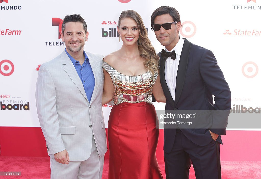 Max Queta, Jessica Carrillo and Quique Usales arrive at Billboard Latin Music Awards 2013 at Bank United Center on April 25, 2013 in Miami, Florida.